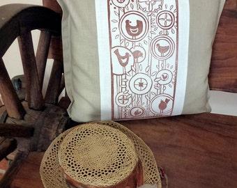 sale - cushion cover, flowers, bird, decorative pillow, pillow cover, scatter cushion, pillow case, white, beige, linocut, retro pattern