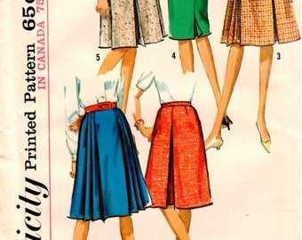 Vintage UNCUT 1960s Simplicity Pattern 5884 Misses Set of Skirts - Waist 24 - Hip 33