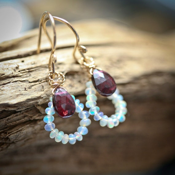 Opal and Garnet - Gold Filled Wrapped Teardrop Dangle Earrings - October Birthstone - January Birthstone