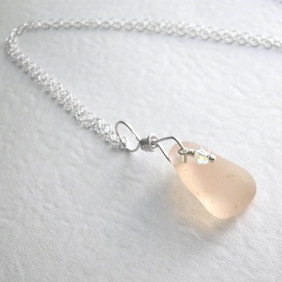 Rare Pink Sea Glass Necklace, Blush Pink Pendant, Natural Beach Jewelry