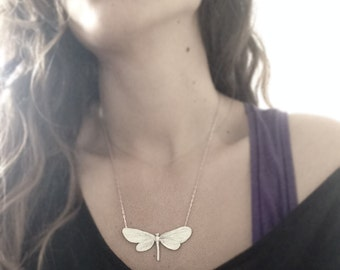 Moth necklace -Animal jewelry -Insect Jewelry -Sterling silver pendant-Butterly Moth Pendant-Goth jewelry-Wing jewelry