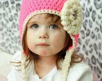 Girls crochet hat - ear flap hat - Toddler hat - Infant hat - Winter hat - pink hat - flower hat - newborn hat - white hat - baby girl hat