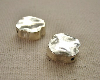 Fine Silver Nugget Hollow Beads - 2 pieces