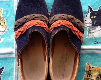 70's Multnomah Clogs. Ultramarine blue suede. Size 9.