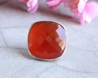 Cushion cut ring - Cushion ring - Carnelian Jewelry - Carnelian ring - Square ring - Sterling silver - Gift for her