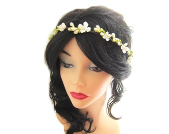 Flower girl headpiece, Ivory flower wedding headpiece, floral hair wreath, flower bridal crown, hair crown, flower girl head wreath