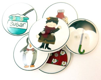"6 Mary Poppins Buttons. Children's Handmade Buttons. Sew on.  3/4"" or 20 mm."