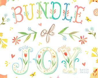 Bundle of Joy art print | Nursery Decor | Watercolor Wall Art | Hand Lettering | Katie Daisy