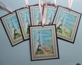 French themed gift tags Paris tags eiffel tower teal tags french flair tags vintage style - set of 6