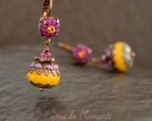 Earrings Méli in hot purple & topaz yellow -085- dangle polymer clay, colorful, boho, automn
