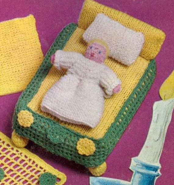 Knitting Patterns For Dolls Bedding : Miniature Doll and Bed Set Digital Knitting Pattern