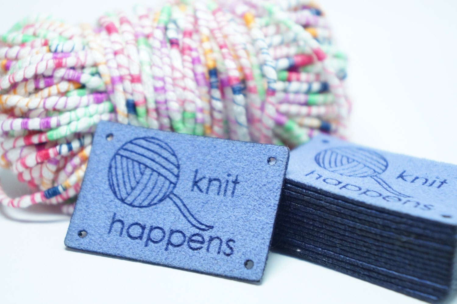 Knitting Labels Canada : Knit happens labels with holes for easy attaching from
