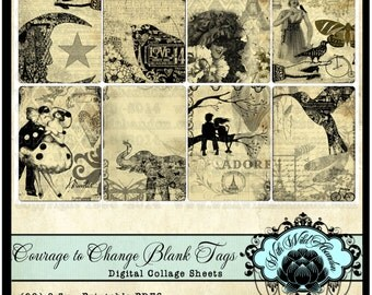 Vintage Tag Set Graphic Sheets, Digital Collage Sheets, ACEO or ATC Cards, Project Life, Truth Cards