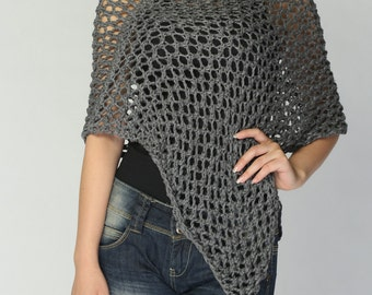 Hand knitted Little cotton poncho knit scarf knit shrug in Charcoal/ Dark Grey-ready to ship