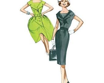 Retro 1960's Dress Pattern - Butterick B5747 Sewing Pattern- Misses / Misses Petite 1960 dress - US Sizes: 8 - 16 or 16 - 24