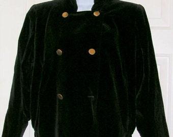 Vintage Jacket - YSL Yves Saint Laurent - Rive Gauche - Velvet Black Bomber Jacket- Double Breasted - Brass Buttons