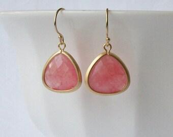 ON SALE Pink Crystal Drop Earrings