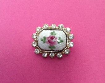 Vintage Guilloche Rhinestone Hand painted Pink cabbage rose Brooch