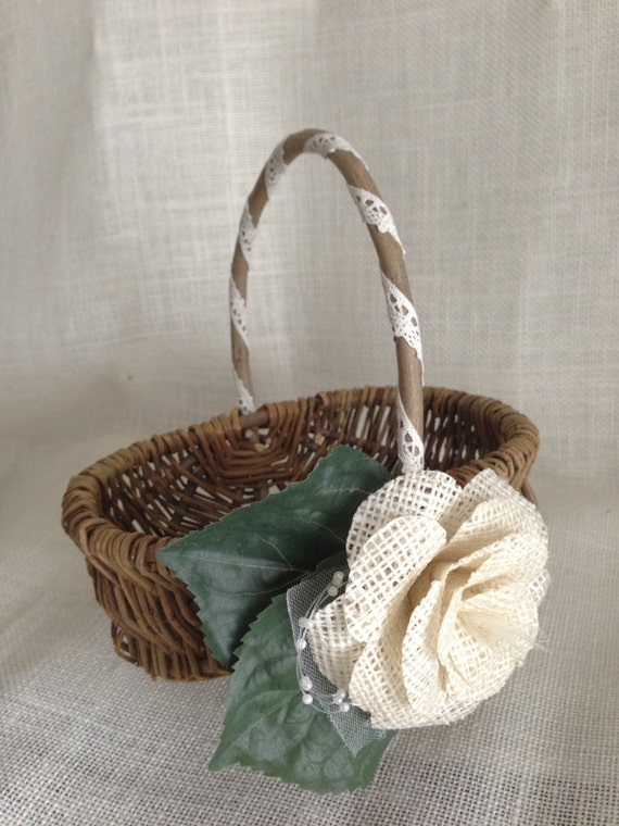 Rustic Burlap Flower Girl Baskets : Rustic flower girl basket lace and burlap wedding decor