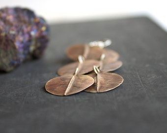 Long Brown Brass Dangle Earrings Rustic Oxidized Textured Organic Oval Leaf Pod Fold-Formed Metalwork Sterling Silver