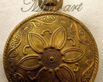 Sunburst Flower Vintage Solid Brass Pocket Watch Style Locket & RaRe Rolo Rollo Bronze Chain Pendant Necklace Miss-art SparklingTreasures2U