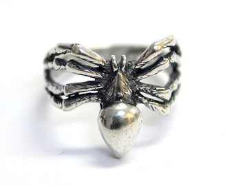 Silver Spider Ring in Solid White Bronze with Sterling Overlay Black Widow Spider Ring 326