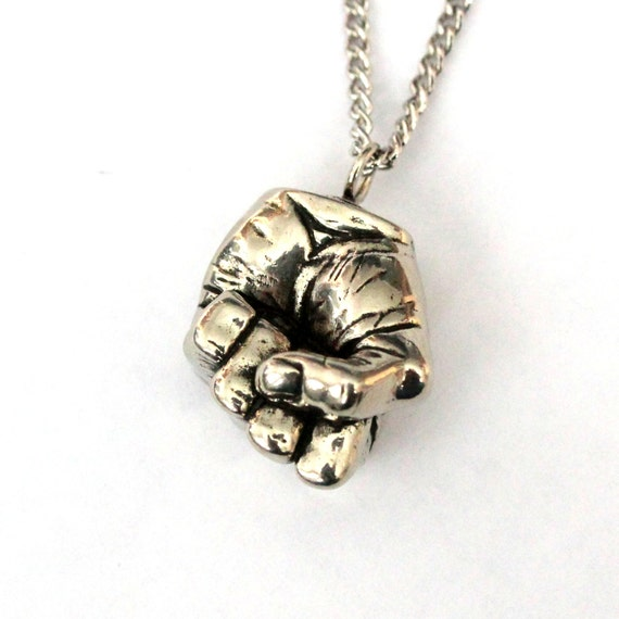 Fist Necklace Silver Fist Pendant Necklace A Mans Clenched Hand Necklace 100