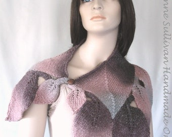 Diamond Leaf Capelet, Brown Peach Gray Leaf Capelet, Tonal Colored Capelet, Hand Knitted Leaf Capelet