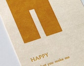 happy - letterpress printed flashcard notecard