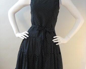 Darling Vintage 1950's/1960's Black & White Polka Dot Knee-Length Party Dress