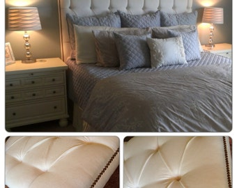 King Size Snow Linen Tufted Headboard with Nickel Nailheads