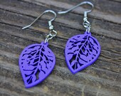 Wood Charm Earrings // Charm Earrings // Earrings // Gifts Under 10 // Purple Earrings // Wood Earrings // Laser Cut Earrings // Leaf