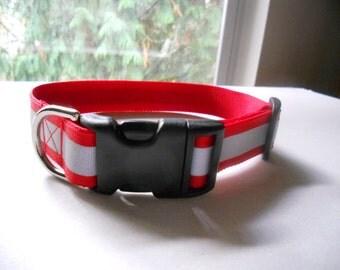 """1"""" Wide Reflective Dog Collar, 3M Reflective Ribbon"""