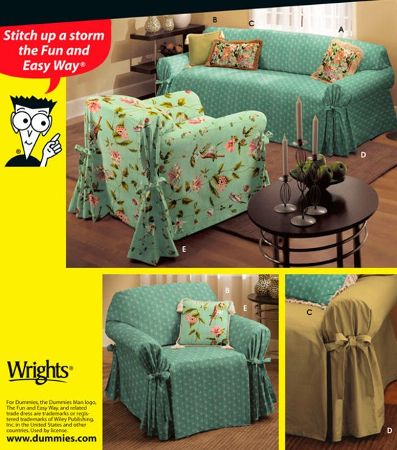 Dummies slipcover pattern sewing for dummies chair couch for Furniture cover sewing patterns