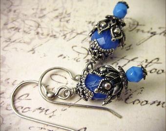 Blue Drop Earrings, Tudor Jewelry, Light Blue, Medieval Renaissance Bridal Earrings, Tudor Costume, Victorian Earrings, SCA Garb,  Rhiannon