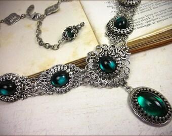 Emerald Renaissance Jewelry, Victorian Necklace, Medieval Bride, SCA, Bridal Jewelry, Wedding, Ren Faire, Festival, SCA garb, Lucia
