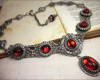 Ruby Red Renaissance Necklace, Victorian Necklace, Bridal Jewelry, Medieval Jewelry, Tudor, Ren Faire, SCA Garb, Wedding, Choose Your Color