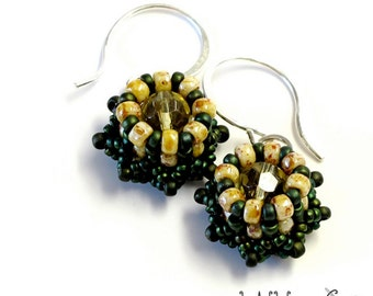 Mini Crown Beaded Earrings Sterling Silver Wire Green Yellow