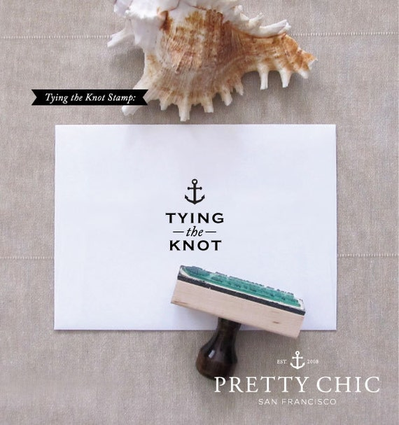 Nautical Save the Date Stamp - Tying the Knot - Custom Stamp by Pretty Chic SF - Anchor Stamp - Nautical Wedding