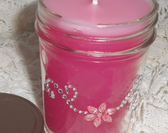 Candle, Hot Pink, Canning Jar, Vanilla Scent, Jelly Jar, Rhinestones, Bling, Glitz
