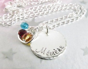 Mémère Necklace - Handstamped Necklace - Sterling Silver-  Personalized Mommy Jewelry