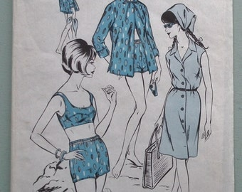 "Vintage 1960s Sewing Pattern Women's Beachwear Summer Holiday Beach Outfit Bikini Bra Shorts Dress 60s 40"" bust US Size 12 - UK Size 16 L"