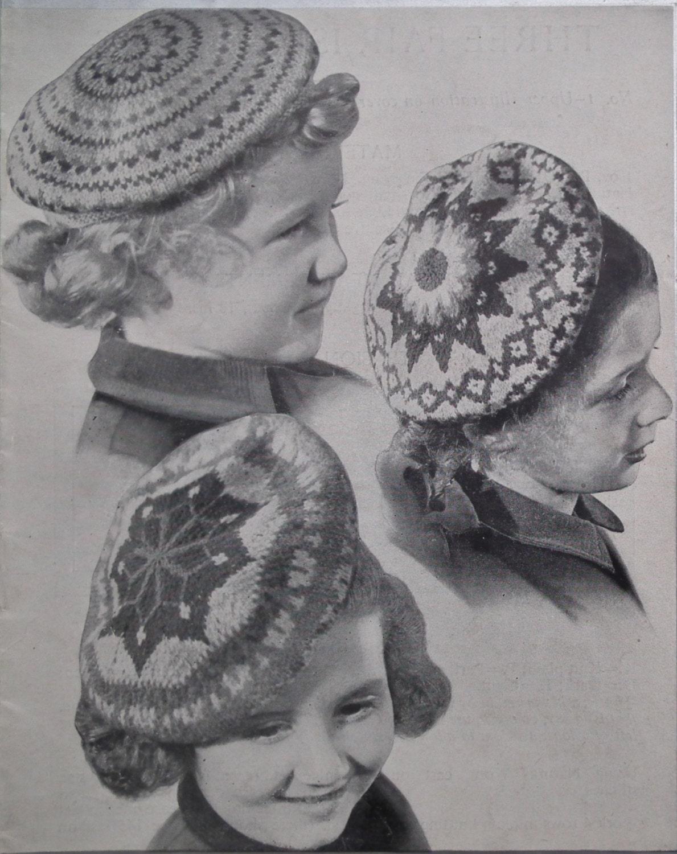 Vintage Knitting Pattern 1930s 1940s Children's Hat Fair