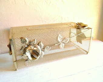 Hollywood Regency Gold Metal Tissue Box Cover Floral Filigree