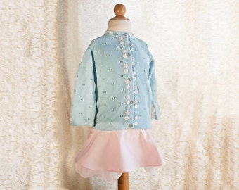 Toddler Girl, skirt and cardigan set, Toddler outfit for Spring, aqua and soft pastels, crochet flowers. Baby girl summer cardigan