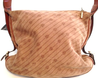 Vintage purse Tan purse Brown purse Italian leather purse suede purse Designer purse Handbag Tote Slouchy purse ottino purse retro purse