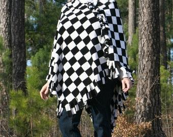 Black and White Checkerboard Fleece Poncho
