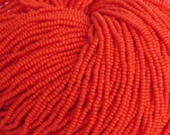 10/0 Opaque Orange Czech Glass Seed Beads 12 Strand Hank (AW124)