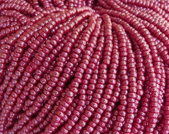 8/0 Opaque Dark Red Luster Czech Glass Seed Bead Strand (CW47)