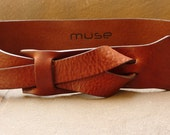 Rhino Brown 2 inch or 5 cm Leather Belt by Muse Nickel- Free/vegetable tanned leather LIMITED SIZES Only 4 left